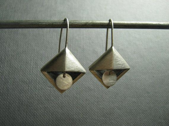 Art Deco Silver Triangle Pyramid Earrings