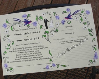 Wedding Vows in Summer Theme - Hand Painted artwork with printed text -Made to Order