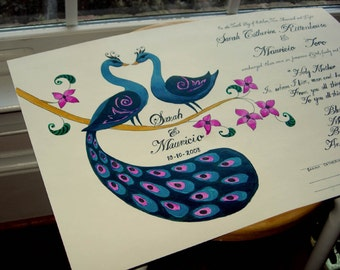 Peacock Wedding Vows 17x11, Hand-painted & hand-lettered - made to order