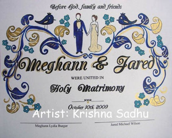 Wedding Posters or Certificates in Quaker style -Hand Painted Artwork around Printed Text - Made to Order