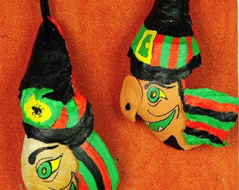 8 Halloween hand made decorations, acrylic painting on the seashells: 2 witches and 6 black cats