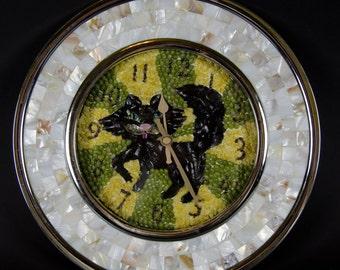 Original Cat Mother of Pearl Mosaic Wall Clock  with Modern natural seashells design