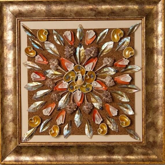 Original seashell mosaic art wall decor frame for Seashell mosaic art