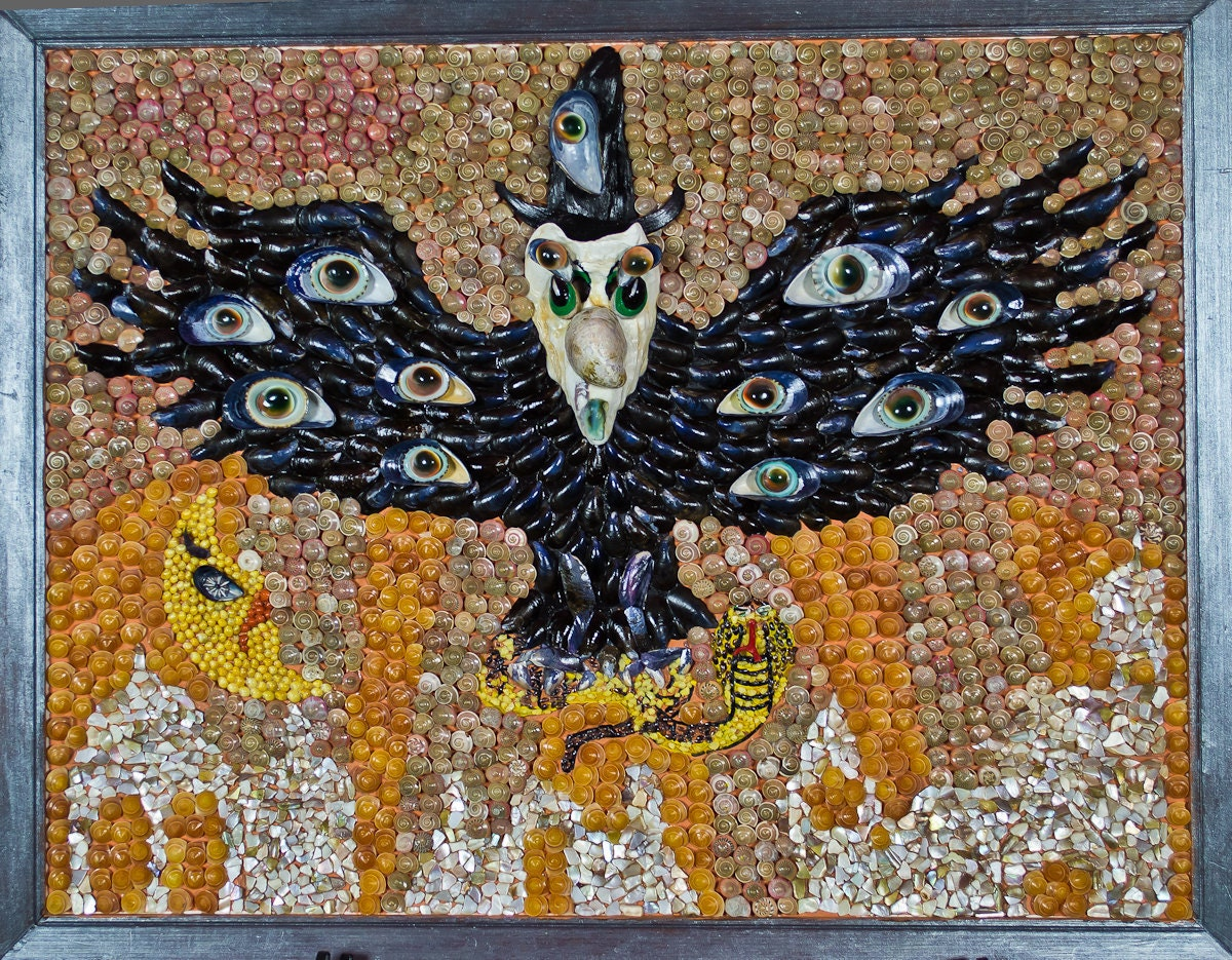 Halloween seashell mosaic 22x 16 for Seashell mosaic art