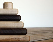 organic SAPLING STACKER TOY small natural contrast Maple Walnut developmental wooden set