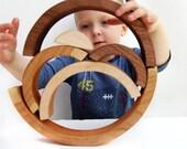 organic NIMBLE NESTER STACKING ARCHES - natural wooden balancing nesting educational set