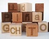 organic Spanish Alphabet Blocks - 29 piece naturally colorful wooden Walnut, Cherry and Maple language set