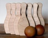 organic SKITTLES - 10 pin retro wooden bowling developmental set