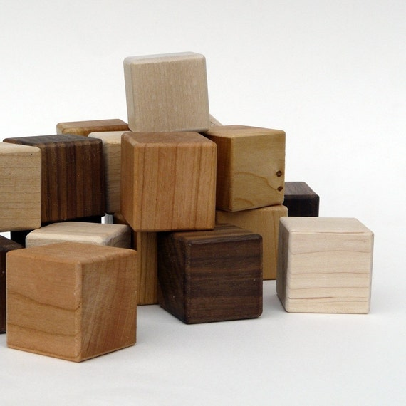 organic building BLOCKS - 24 piece naturally colorful wooden Walnut, Cherry and Maple set