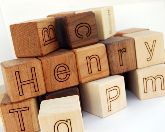 8 Personalized Alphabet Blocks wooden blocks baby toy wooden toy letter blocks name blocks - six