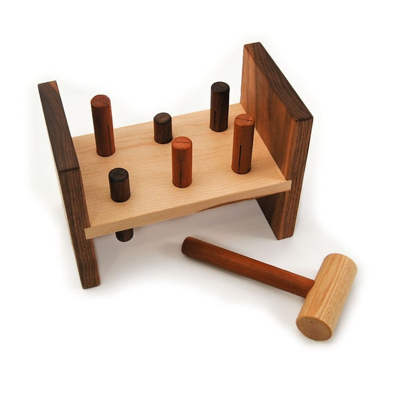 Hammer Toy Wooden Peg Kids Tool Bench Toy By Littlesaplingtoys