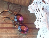 Once Upon a Time in Feburary - Vintage Amethyst Glass Jewel Earrings
