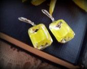 Lemon Meringue Pie Earrings - Vintage Yellow Givre Rhinestone Jewels in Silver Tone or Aged Brass