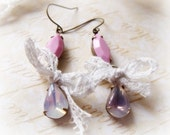 Earrings Vintage Sabrina Glass Jewels - Fairy Cottage  -  Pink and Lavender - Vintage French Lace