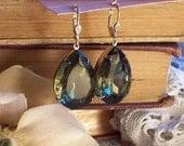 New Moon - Large Vintage Black Diamond Glass Jewel Earrings