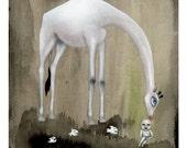 White Giraffe giclee print