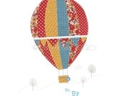 Up, Up and Away... - A4 PRINT Illustration Children's room nursery baby kids decor bright hot air balloon red blue yellow