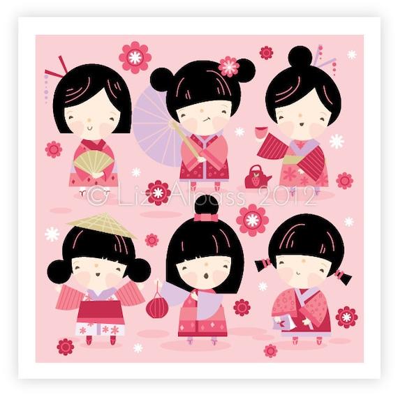 KAWAII GIRLS - print children's nursery art decor room wall illustration geisha Japanese kokeshi dolls cute pink