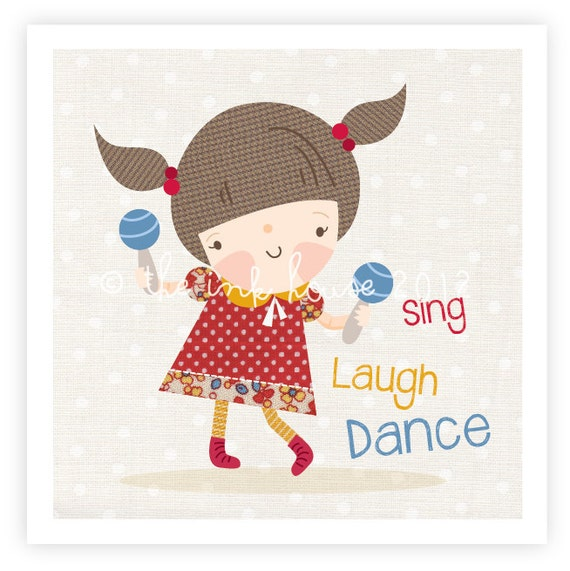 Vintage Baby Wall Decor : Items similar to sing laugh dance nursery art print baby