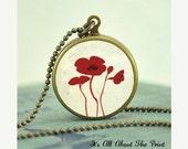 Penny Art Pendant -3 Little Red Poppies- Brass HOOP Jewelry