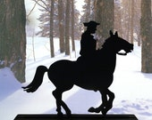 Early American Style Rider and Galloping Horse Hand-cut Wood Silhouette - SAFH005