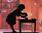 Young Girl Preparing Food  Handmade Wood Display Silhouette Decoration - SCLD008