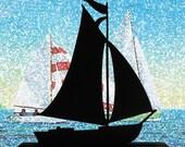 A Pleasure Sailing Boat Handmade Wood  Display Silhouettes Decoration   sntl005