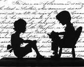 Boy Reading to the a Girl Handmade Decorative Wood Display Silhouette  scld022