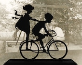 Boy and Girl On A Bicycle Decorative Wood Silhouette