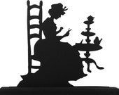 Woman Cutting Quilting Squares Handmade Wood Display Silhouette  swmn013