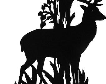 Big Stag Buck Deer Handmade Wood Decorative Display Silhouette - SAWN002