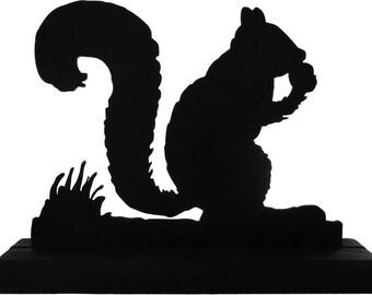 Squirrel Enjoying An Acorn Handmade Wood Display Silhouette Decoration - SAWS001
