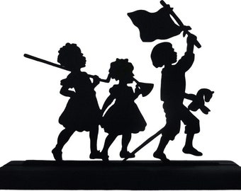 Marching Children USA Handmade Wood Decorative Display Silhouette - SCLD001