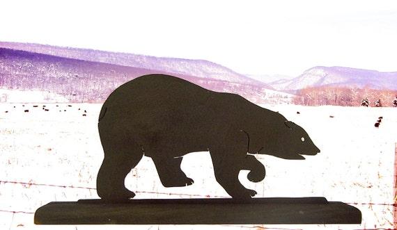Lone Polar Bear Handmade Wood Display Silhouette Decoration - SAWA009