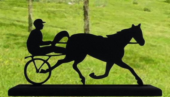Harness Racer On the Track Handmade Wood Display Silhouette Decoration  sptr001