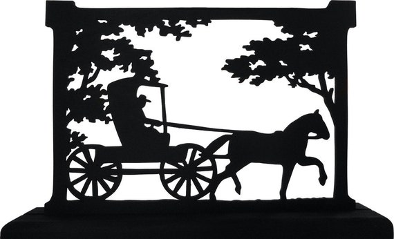 Amish Horse And Buggy Scene Decorative Wood Silhouette Strh009