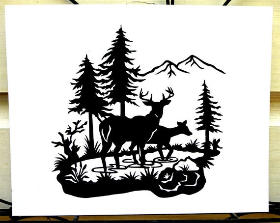Tranquil Deer In Woods Scene Hand Cut Paper Silhouette Wall