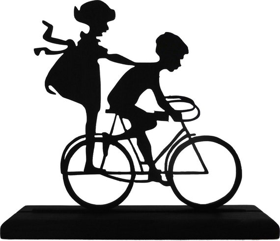 Boy and Girl On A Bicycle Handmade Decorative Wood Display Silhouette - SCLD019