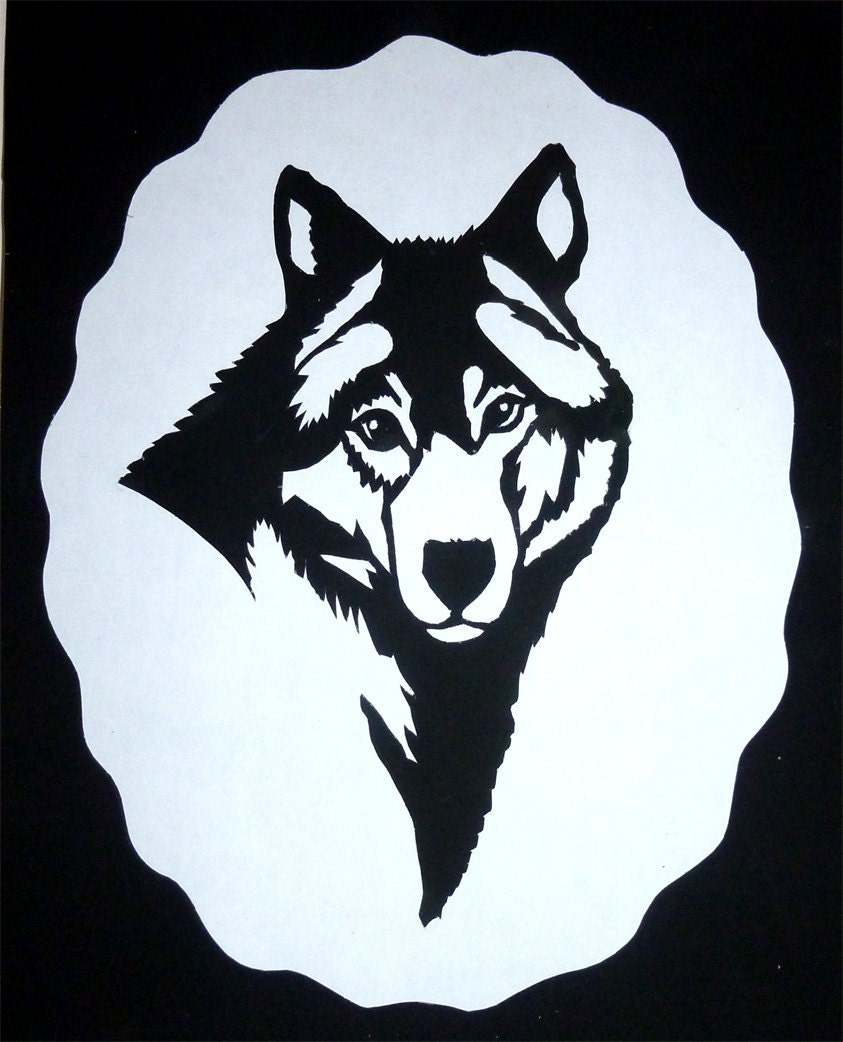 Wolfs Head Handmade Paper Cut Silhouette Wall Hanging