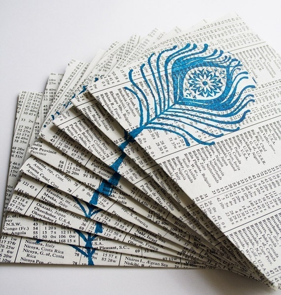 Peacock Blue, Upcycled Envelopes, Eco Friendly