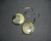 Yellow Turquoise Coin Disk Earrings