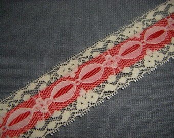Vintage Red and Ivory Lace Ribbon 2 yards