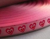 "5 YRDS-3/8'' (9mm) Pearl Pink ""2 Heart"" grosgrain ribbon"