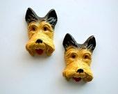 Chalkware Terrier Wall Hangings