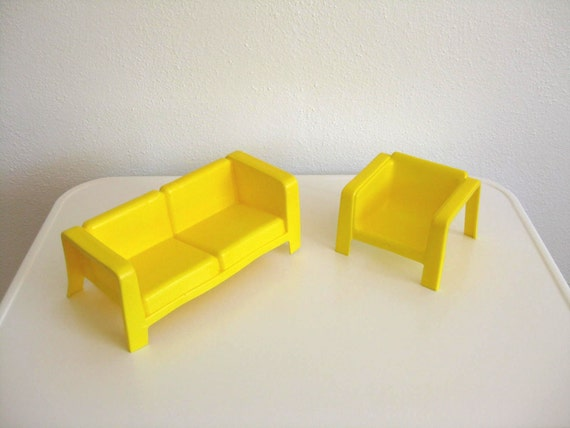 70's Mod Yellow Toy Furniture from Mattel