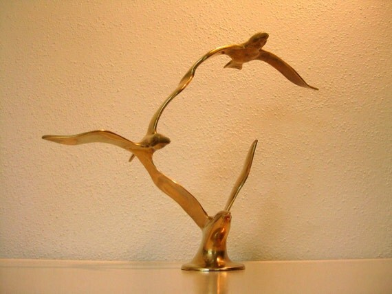 Mid-Century Modern Brass Bird Sculpture