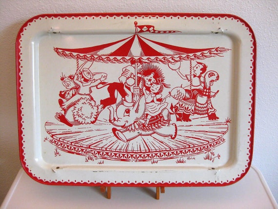 Carousel TV Tray - 1950's