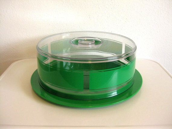 Kelly Green Covered Cake Plate - Plastex Finland