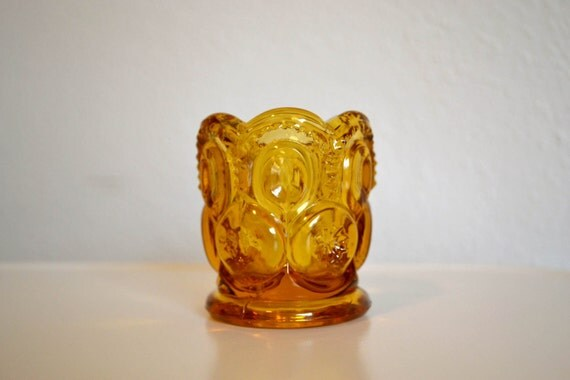 Amber Moon and Stars Glass Toothpick or Match Holder - L.E. Smith