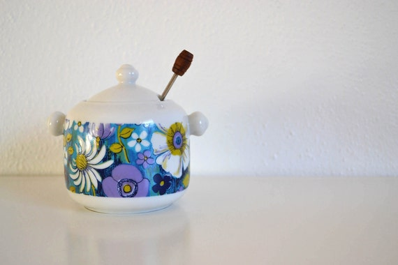 Royal Crown 60's Mod Jam or Sugar Bowl with Spoon